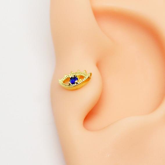 Piercing Tragus Olho Grego Folheada A Ouro Pedra Safira