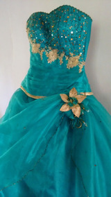 Vestido De 15 Años. Verde Esmeralda/jade (ajustable) Oferta!