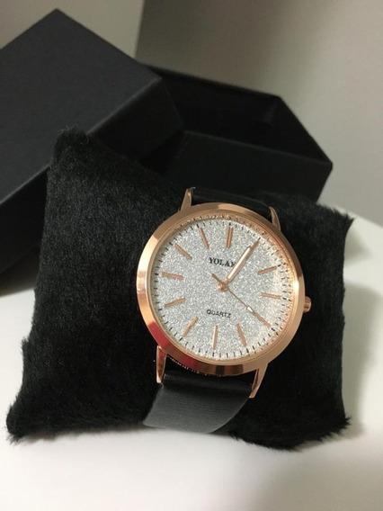 Relógio Feminino Quartz Preto De Couro + Caixa De Presente