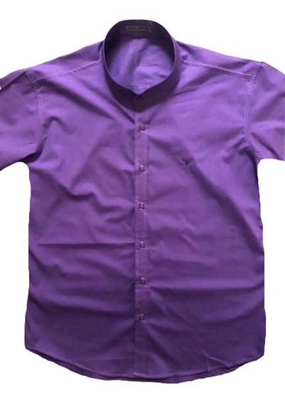 Camisa All Brazil Gola Padre Plus Size Manga Curta Sem Bolso