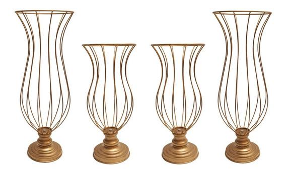 Kit 2 Vasos Aramados 45cm E 2 Vasos De 60cm Armação Festa Decoração Luxo