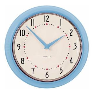 Reloj De Pared Turquesa Marco Metal