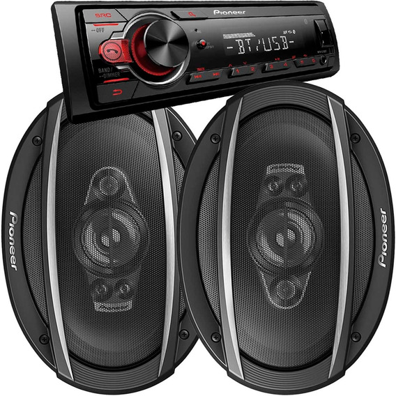 Combo Estereo Pioneer Bluetooth Usb Aux + Parlantes 6x9 450w