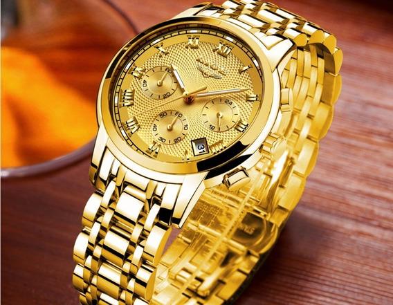 Relogio Masculino Luxo Dourado Aço Inox Garantia Show Nf