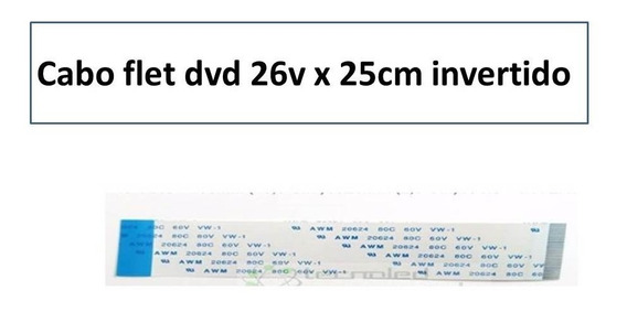 5x Cabo Flat Dvd 26v X 25cm Invertido (13mm De Largura)