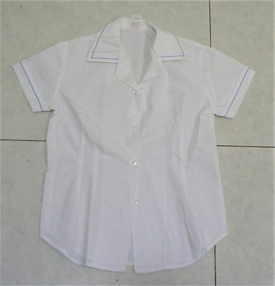 Camisa Manga Corta Escolar Formal Blanca Niña 6 8 Años