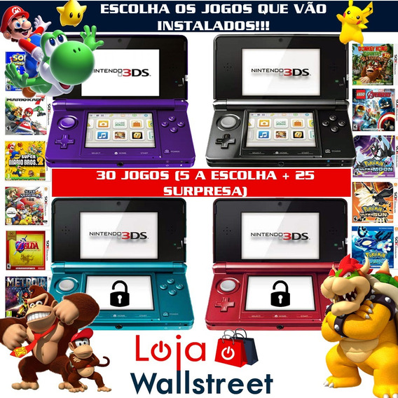 Nintendo 3ds Pokemon Mario Zelda Smash Bros 30 Jogos C/case