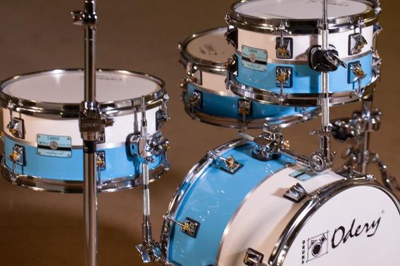 Bateria Acústica Odery Café Kit White And Blue Custom