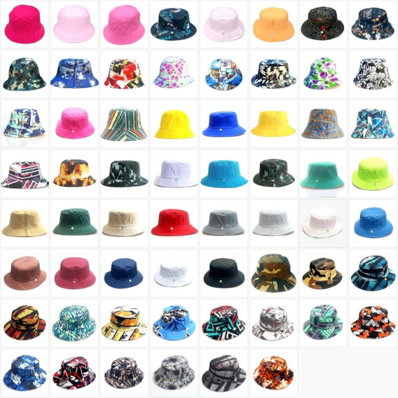2 Chapéus Bucket Hat Diversas Cores Liso Colorido Promoção