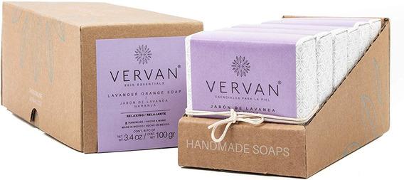 Vervan - Jabón Artesanal Para Cuerpo Lavanda Naranja 6 Pzas