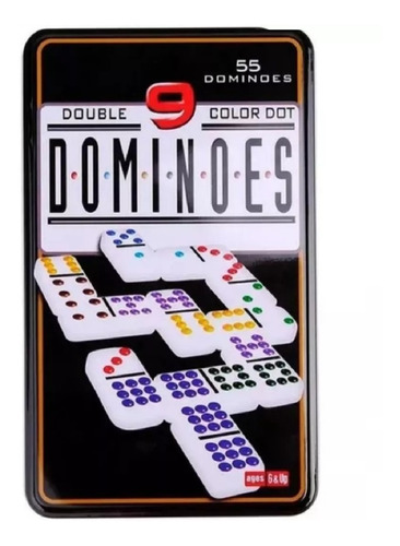 Dominó 55 Fichas A Color Doble 9 Juego De Mesa
