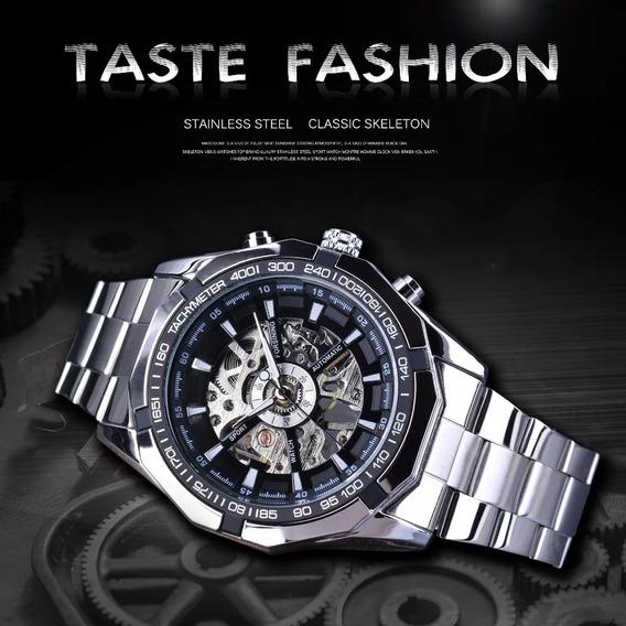 Relógio Esqueleto, Luxo De Patrão, Masculino, Prateado
