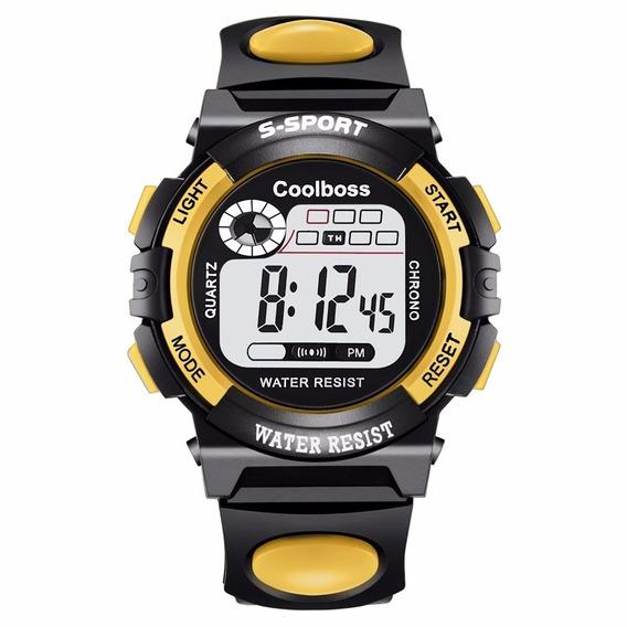 Reloj Digital Sport Marca Coolboss Modelo 0118 Amarillo