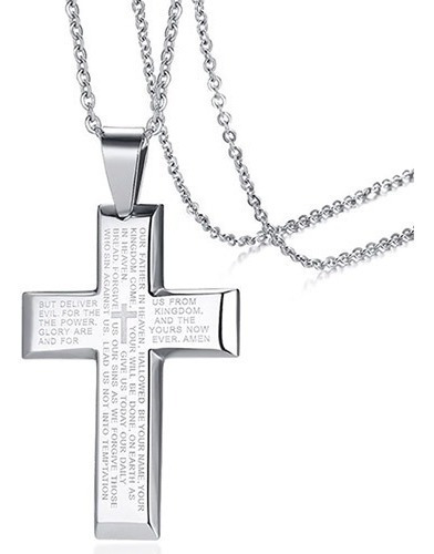 Corrente Aço Inox E Crucifixo Cruz Com Oração Pai Nosso