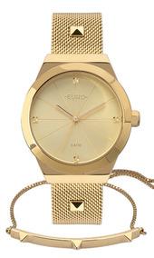 Relógio Euro Feminino Dourado Eu2035yrj/k4d + Pulseira