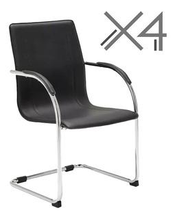 Silla Fija X4 De Oficina Para Escritorio Recepción Mesa Sala Comedor