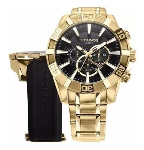 Relógio Technos Legacy Troca Pulseira Dourado Os2aajac/4p