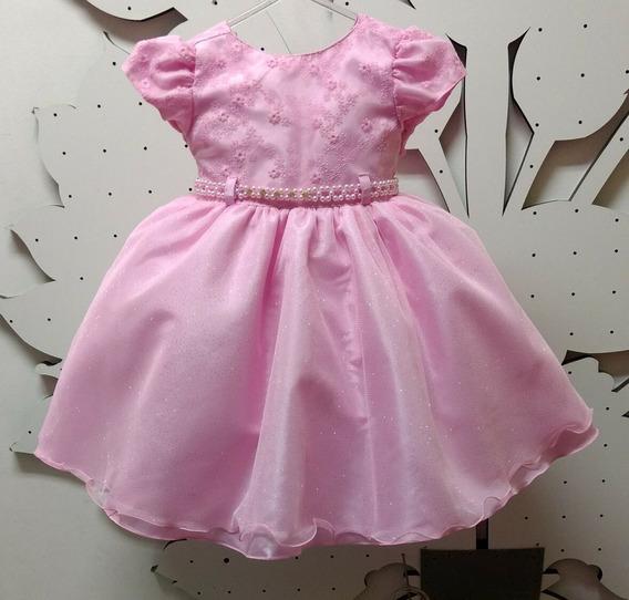 Vestido Princesa Rosa Realeza Aurora Modelo Novo E Tiara