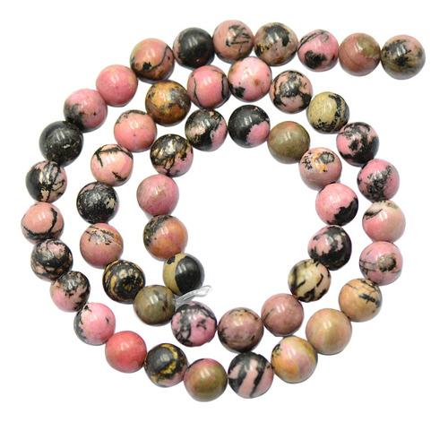 8mm Preto Rosa Rhodonite Gemstone Jewelry Making Spacer Bead