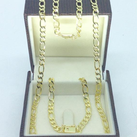 Corrente Cordão E Pulseira 3 X 1 Fecho Gaveta Banhado A Ouro 18k 5mm 70cm - Lindo Conjunto