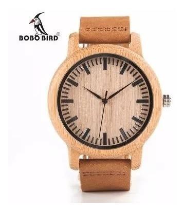 Relógio De Madeira Bambu Unissex