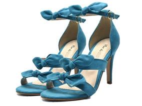 Sandália Social Feminina Com Laço E Salto Alto Fino Azul