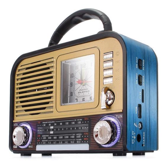 Rádio Retro Recarregável Com Relogio Bluetooth Am/fm Usb