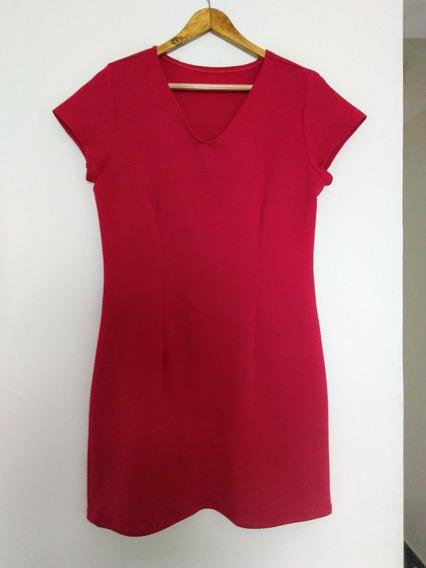 Vestido Vermelho G Decote Malha Especial