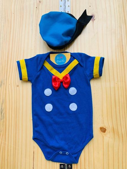Body Pato Donald Bebê Mesversário Fantasia Personalizado