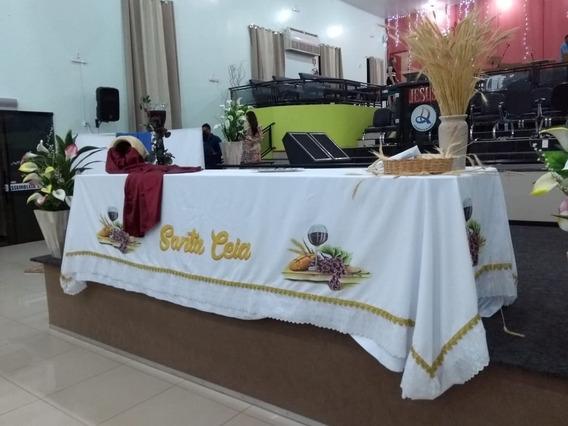 Toalha De Santa Ceia Altar Com Barrado Dourado 250x150mts