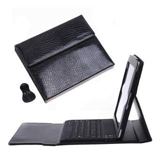Funda De Cuero Negro Con Teclado Inalámbrico Bluetooth