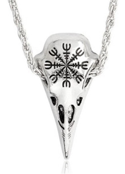 Colar Unissex Tribal Hipster Corvo Nórdico Viking Amuleto
