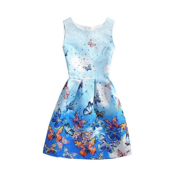 Vestido Clássico Azul Estampado - Importado
