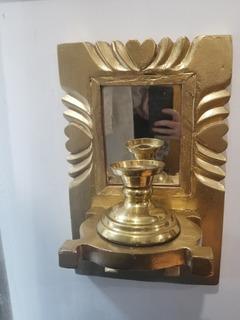 Candelabro Repisa Espejo De Pared Con Portavelas Antiguo