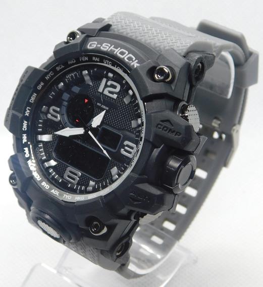 Relógio Masculino Cinza Novo Anti Shock Digital + Caixa