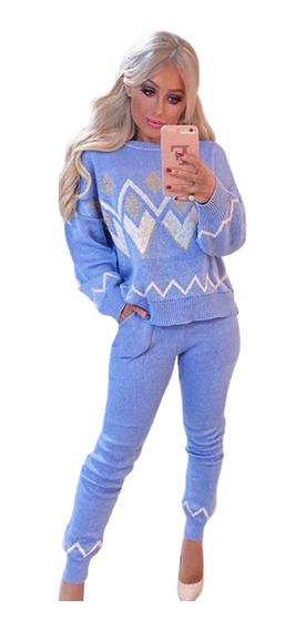 Conjunto Tricot Candy Color Desenho Geométrico Calça E Blusa