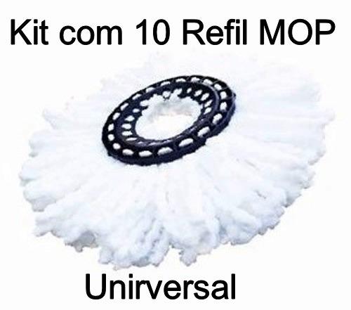 Kit 10 Refil Padrão Micro Fibra Esfregão Spin Mop Universal