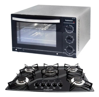 Kit Forno Inox 45l + Cooktop 5q Tripla Chama Frete Grátis !