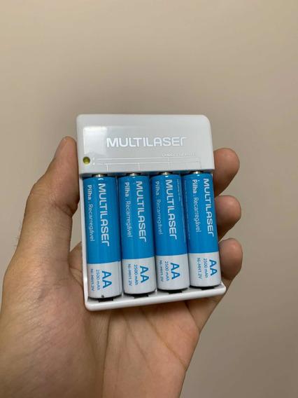4 Pilhas Aa Recarregáveis Multilaser 2500mah + Carregador