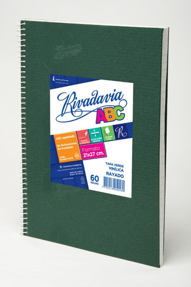Cuaderno Rivadavia Abc Espiralado X60h Rayado Verde