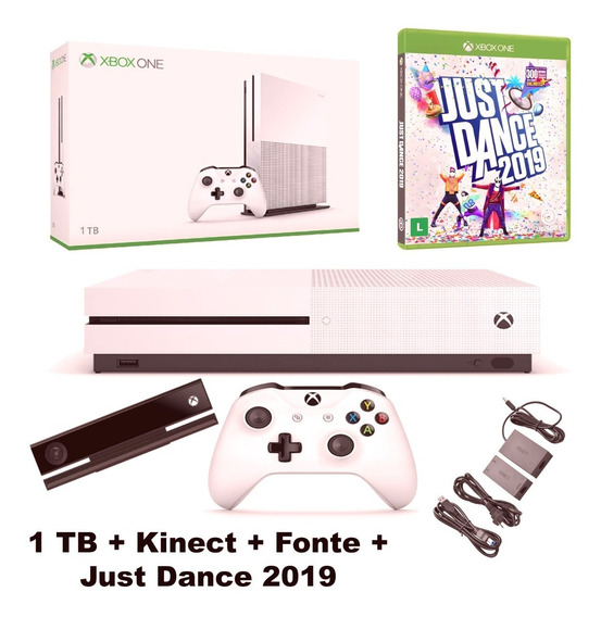 Xbox One S 1tb Kinect Controle P2 Fonte Adaptad Just Dance19