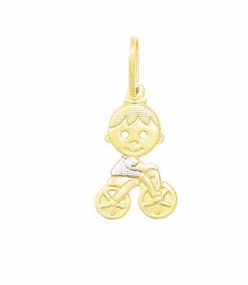 Pingente Menino Filho Bicicleta Ródio Folheado A Ouro 18k