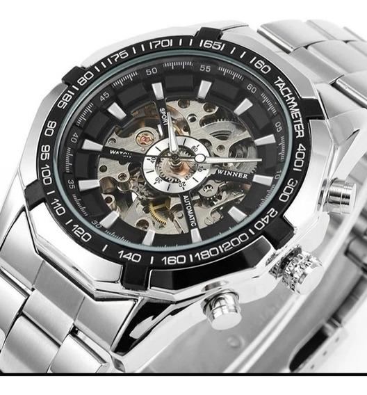 Relógio Automático+lindo Brinde Dourado Frete Grátisc.120
