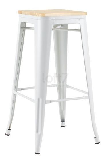 Banqueta Tolix Assento Madeira Iron Aço Metal Branco