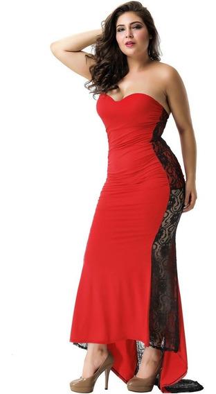 Hermoso Vestido De Fiesta Largo Rojo Con Encaje Negro Y Cola