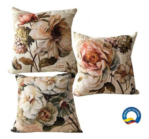 3 Forros Cojines Decorativos, Naturaleza Vintage, 45x45 Cms