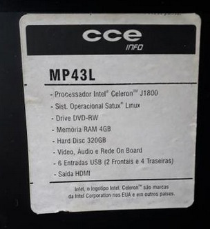 Mini Pc Cce Mp43 Intel Celeron J1800 4gb Hd 320gb