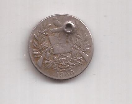 Guatemala Antigua Moneda De 1/2 Real Año 1900