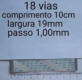 Flat Cable 18 Vias 10cm Passo 1,00mm Contatos Do Mesmo Lado