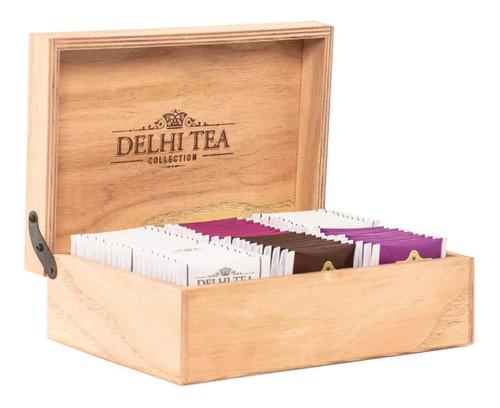 Imagen 1 de 2 de Caja De Madera Delhi Tea Premium X 60 Saquitos Surtidos